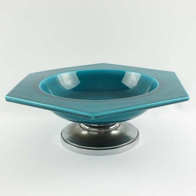 Metal Paul Milet for Sevres Art Deco Turquoise Ceramic Bowl For Sale - Image 7 of 9