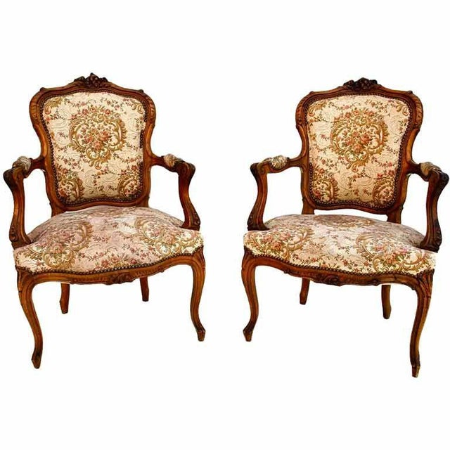 French Late 19th Century Antique Louis XVI Style French Bergeres - a Pair For Sale - Image 3 of 3
