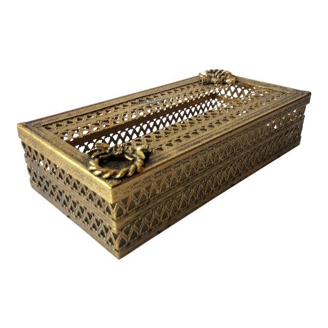 Regency Glam Ormolu Gold Filigree Tissue Box For Sale