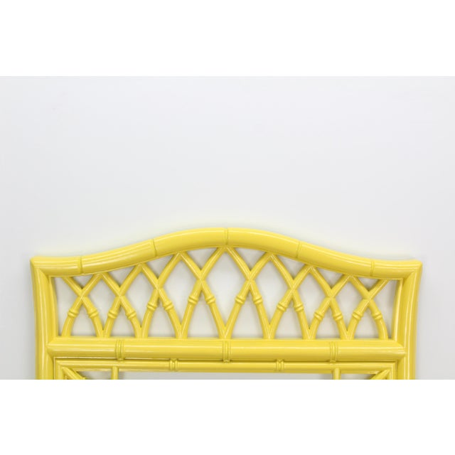 1970s Lovely Bright Sunny Yellow Faux Bamboo Mirror For Sale - Image 5 of 5