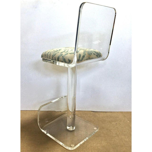 Plastic Set of Three Vintage Lucite Bar Stools, Newly Upholstered Seat For Sale - Image 7 of 13