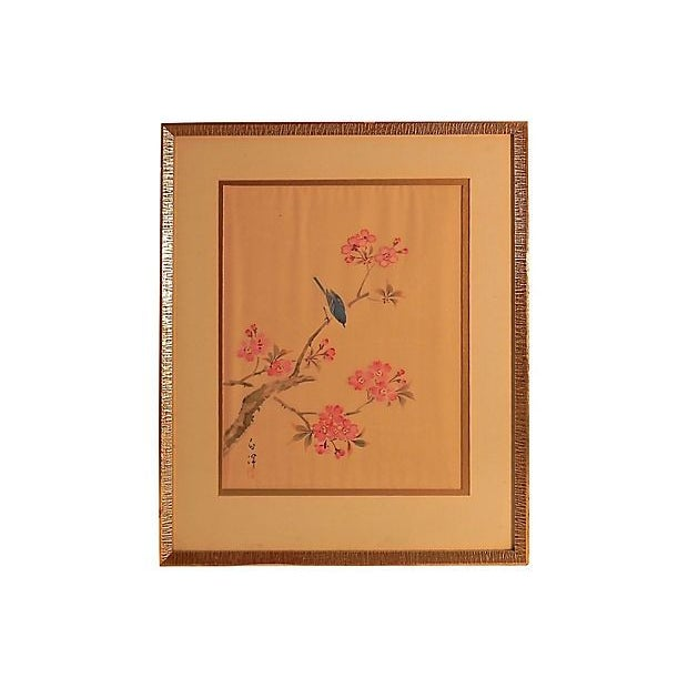 Cherry Blossom Painting on Silk For Sale