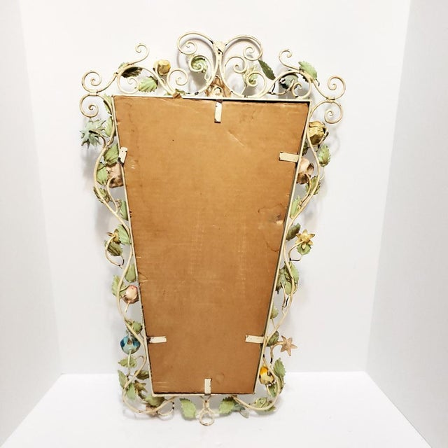 Vintage Italian Shabby Chic Floral Tole Wall Mirror For Sale - Image 9 of 10