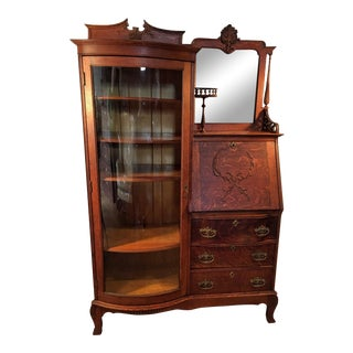 American Oak Side by Side Desk Curio Cabinet Bookcase For Sale