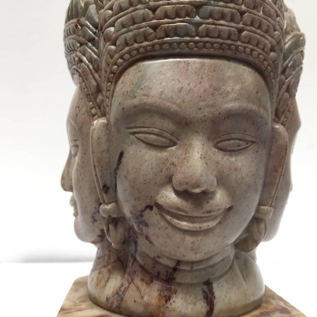 Soapstone Hand-Carved Bust of Brahma With Four Faces For Sale - Image 4 of 13