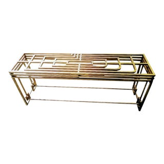 Art Deco Style Large Heavy Greek Key Leg Gold Metallic Console Table For Sale