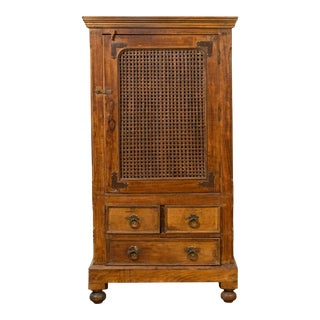 Antique Indian Teak Wood Kitchen Cabinet with Metal Fretwood Door and Drawers For Sale