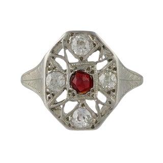 Edwardian Platinum Diamond & Ruby Filigree Ring For Sale