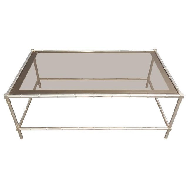 Mid 20th Century Faux Bamboo Chrome-Plated Cocktail Table with Smoked Glass Top For Sale - Image 5 of 5