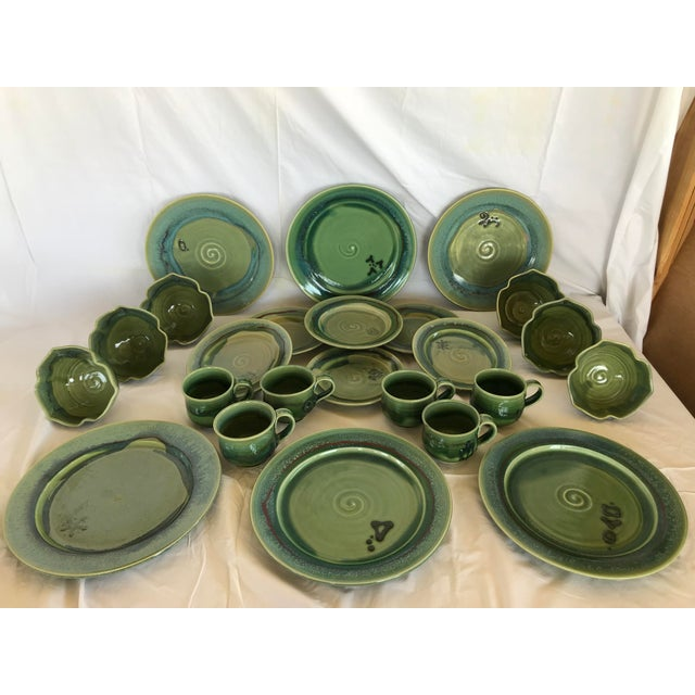 Green Gabriel Kline Pisgah Green Hand Crafted Pottery - Set of 24 For Sale - Image 8 of 8