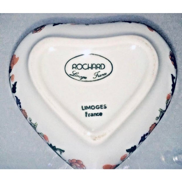 """New Limoges Rochard France Trinket Jewelry Box Heart Never Used Hand Painted 3 1/4"""" wide 1 1/4"""" high Base is 2 1/4"""" wide..."""