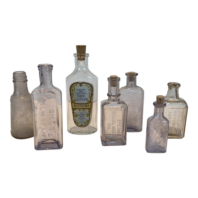 Vintage Glass Apothecary Bottles - Set of 7 For Sale