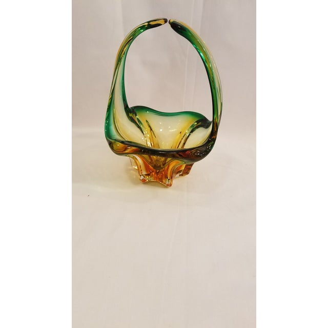 Vintage Mid Century Murano Mouth Blown Glass Basket, Made in Italy, Condition, Green and Gold For Sale - Image 10 of 11