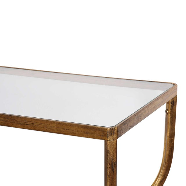 Contemporary Antiqued Gold Finish Console Table For Sale - Image 3 of 4