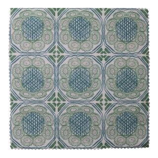 Hajarie Palm Basket Fabric, 1 Yard, Teal in Linen & Cotton For Sale