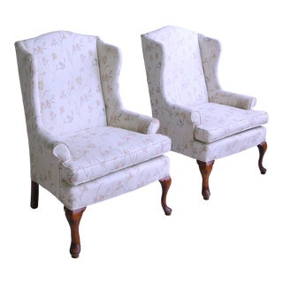 1970s Vintage Sam Moore Queen Anne Petite Wingback Chairs- A Pair For Sale
