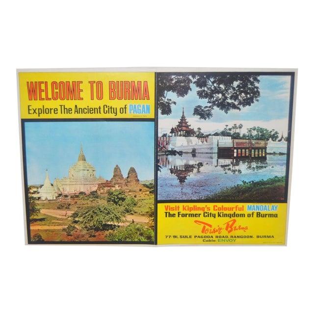 Vintage BURMA Travel Poster c.1960 For Sale
