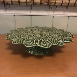 """Bordallo Pinhiero 13"""" Green Lemon Leaf Cake Stand Serving Plate Preview"""