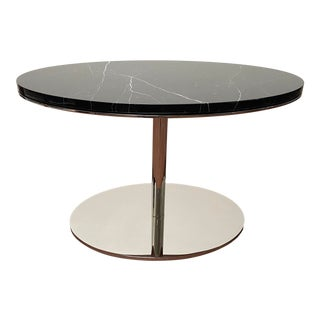 Bolier for Decca Home Modern Oval Nero Marquina Marble Top Side Table For Sale