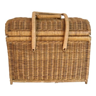 Vintage Wicker Rattan Woven Rounded Basket For Sale