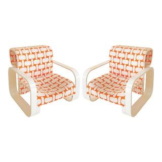 Mid 20th Century White Framed Jan Bocan Armchairs - a Pair For Sale