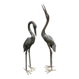 Life-Size Cranes Garden Sculptures - a Pair For Sale