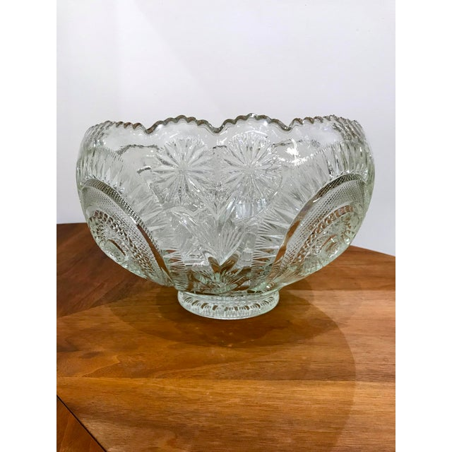 Mid-Century Modern Vintage Cut Glass Punch Bowl & Cups - Set of 11 For Sale - Image 3 of 12