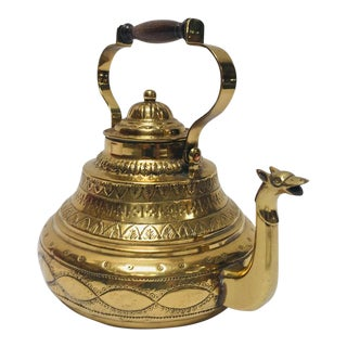 20th Century Moroccan Antique Brass Tea Kettle Pot With Camel Spout For Sale