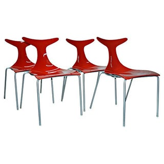 Sculptural Italian Red Dining Chairs - Set of 4 Preview