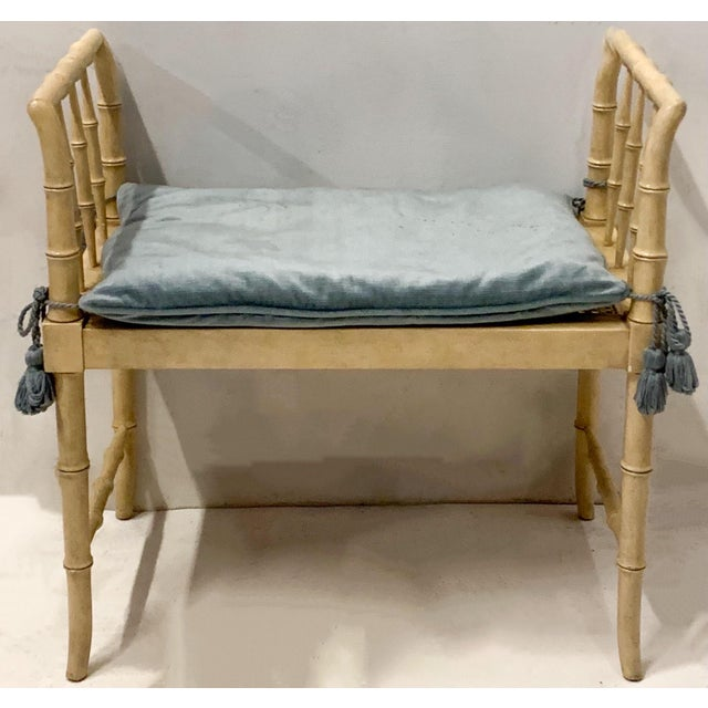 This is a vintage faux bamboo bench by Baker Furniture in very good condition. It is marked. The velvet is vintage and...