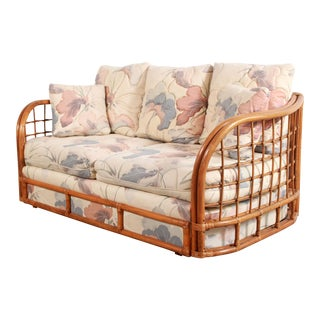 Vintage BoHo Chic Bamboo & Floral Sofa / Loveseat by Broyhill For Sale