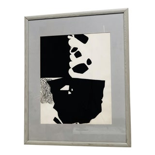 Vintage Mid-Century James Vullo Black & White Abstract India Ink & Gouache on Paper Painting For Sale
