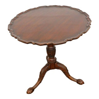 Mahogany Pie Crust Round Tilt Top Center Side Table by Henkel Harris For Sale