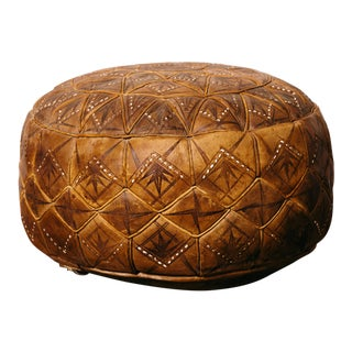 Vintage Moroccan Leather Footstool For Sale