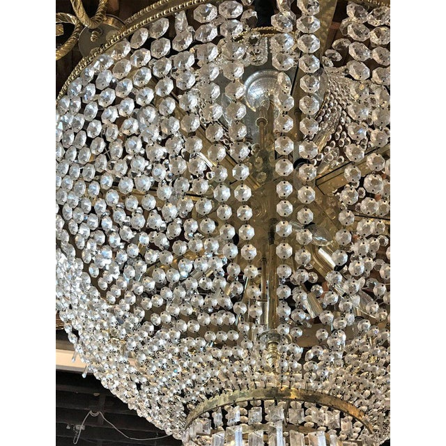 Palatial Neoclassical Brass and Crystal Basket Chandelier with Hanging Prisms For Sale - Image 9 of 10