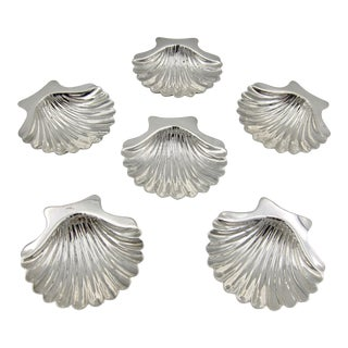 Vintage Sterling Silver Shell Dishes Set of Six - Set of 6 For Sale