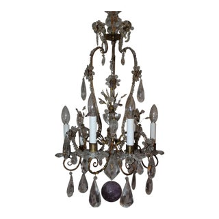 C1880s Early Maison Bagues Authentic All Rock Crystal & Amethyst 6 Light Chandelier -Estate Yves St Laurent For Sale