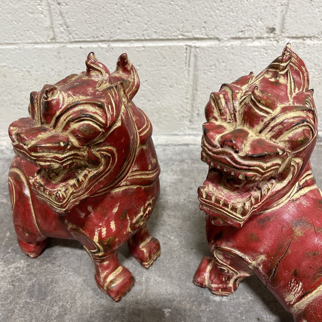 Solid Wood Carved Foo Dogs - a Pair For Sale In Richmond - Image 6 of 10