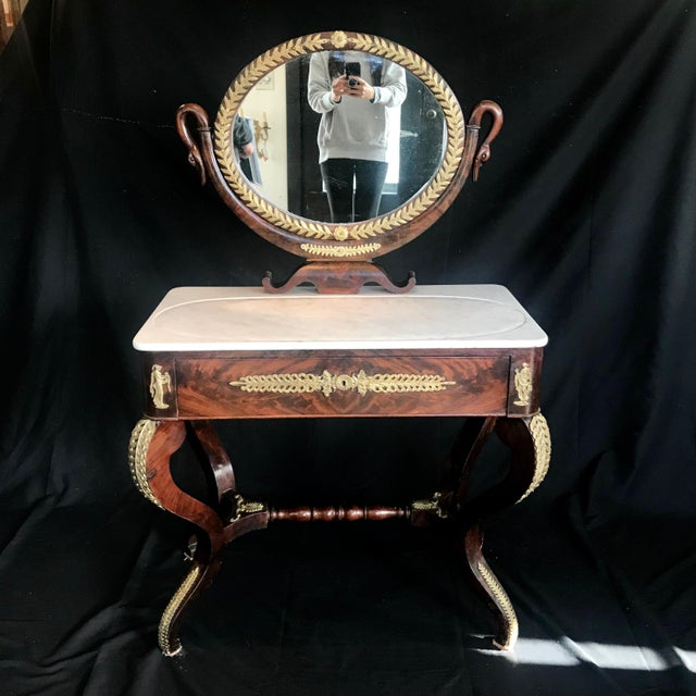 19th Century French Empire Neoclassical Mahogany Dressing Table Vanity For Sale - Image 13 of 13