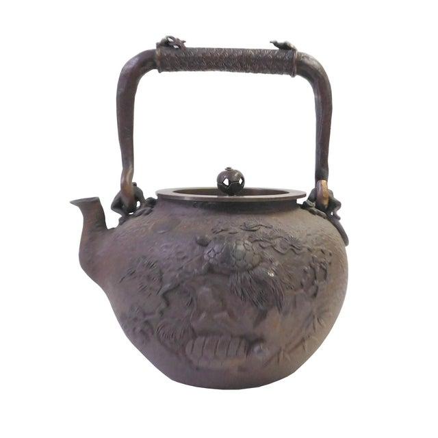 Vintage Iron Relief Turtle Crane Decorative Teapot - Image 2 of 10