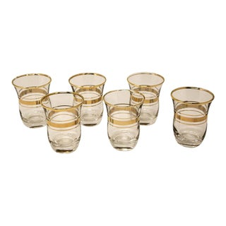 Turkish Tea Glasses with Gold Overlay - Set of 6 For Sale
