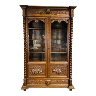 Antique French Oak Bibliotheque Bookcase For Sale