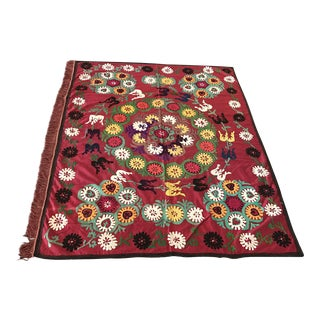 Vintage Red Suzani Tapestry For Sale