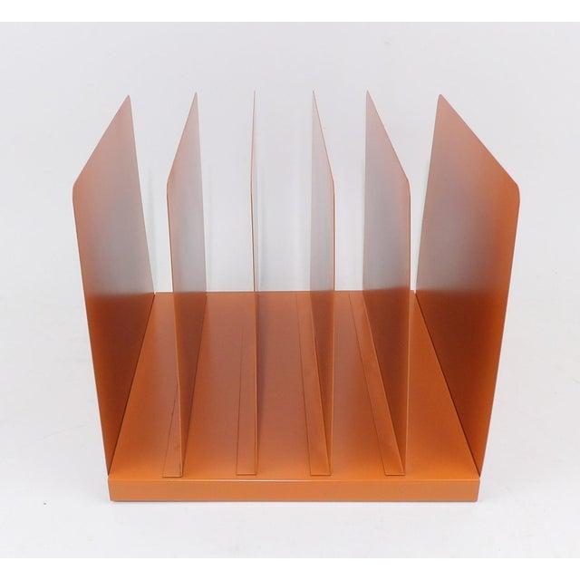 Orange Wooden Desk Organizer - Vinyl Record Rack - Image 7 of 10