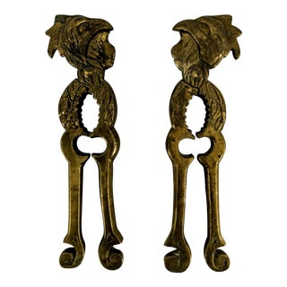 Early 20th Century Antique Brass Nutcrackers With Rooster Headwith - a Pair For Sale