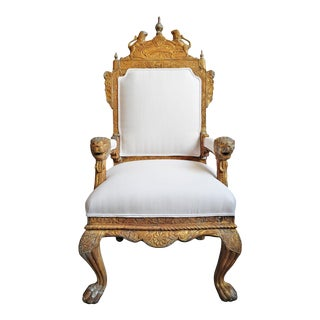 Antique British Colonial Lion Throne Chair For Sale