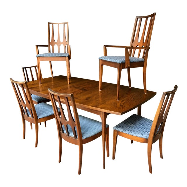 Mid Century Modern Broyhill Brasilia Dining Table and Six Chairs W/  Extending Leaf - Complete MCM Dining Set