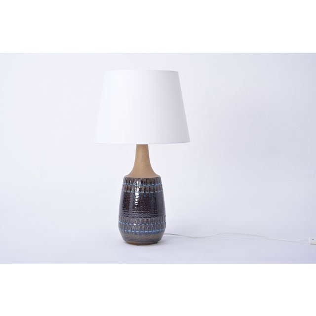 Ceramic Large Vintage Blue Danish Ceramic Lamp With Geometrical Pattern by Soholm For Sale - Image 7 of 7