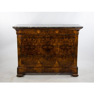 19th Century French Louis Philippe Marble Top Burl Walnut and Fruitwood Chest of Drawers Preview