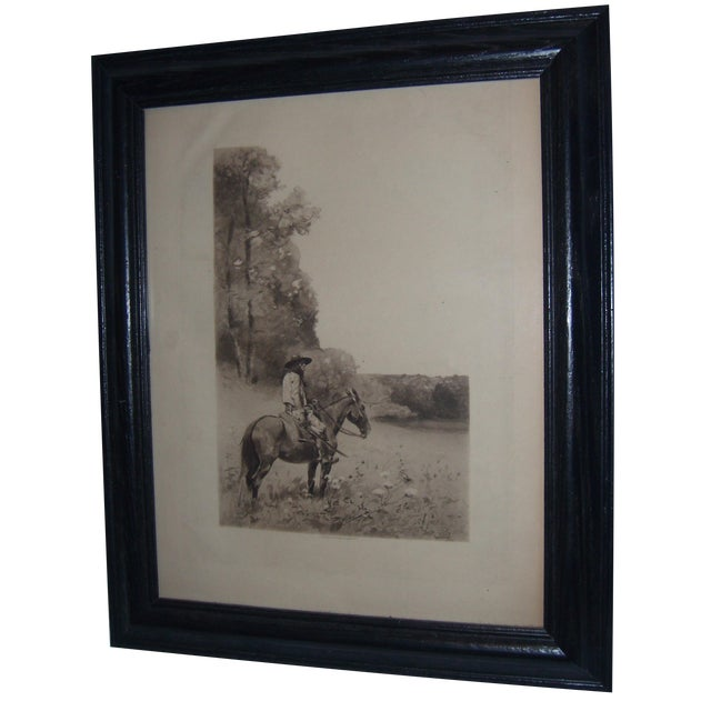19th-C. Engraving of Man on Horse For Sale